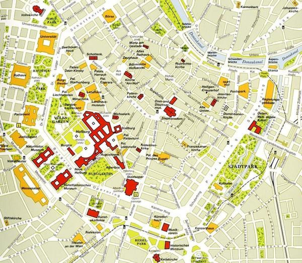Street Kort Over Wien City Center Wiens Historiske Centrum Kort